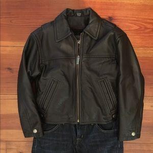 Girls Kenneth Cole 'Reaction' Black Leather Coat